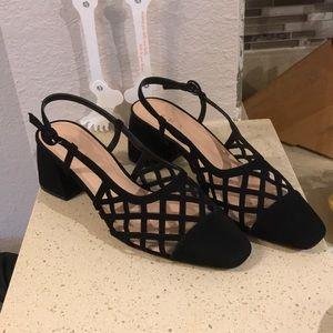 ZARA | Black cutout sling back heels